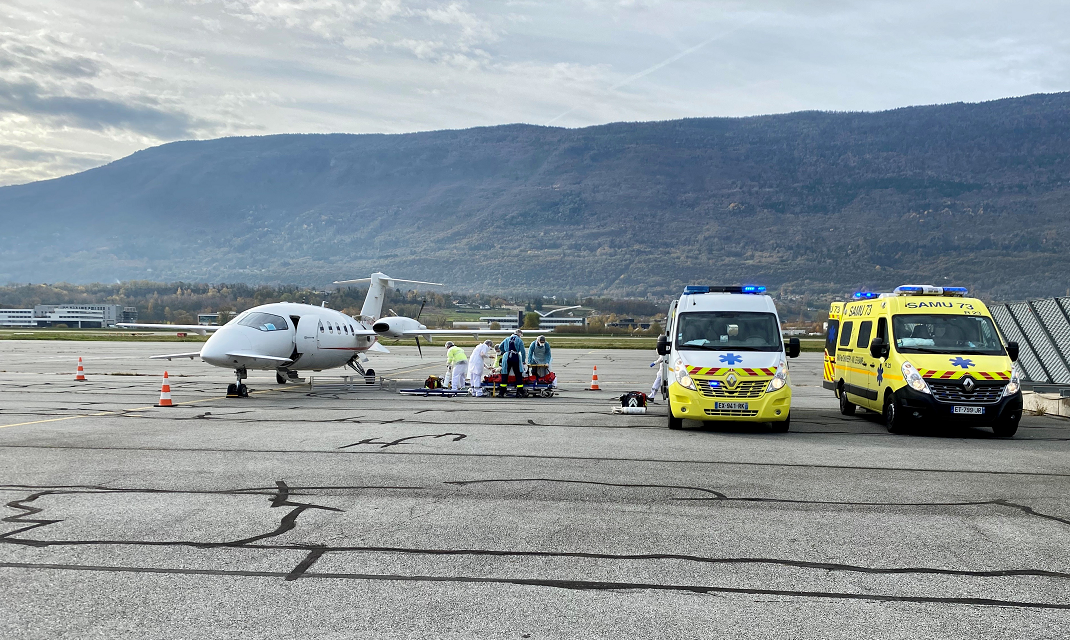 Covid-19 patients transport at Chambéry Savoie Mont Blanc airport