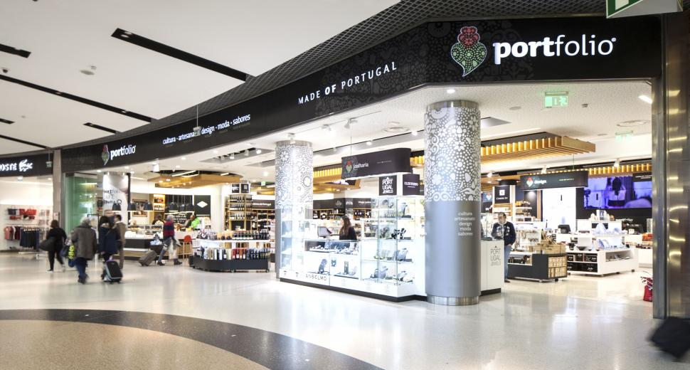 New retail areas at the Lisbon airport give pride of place to local Portuguese products.